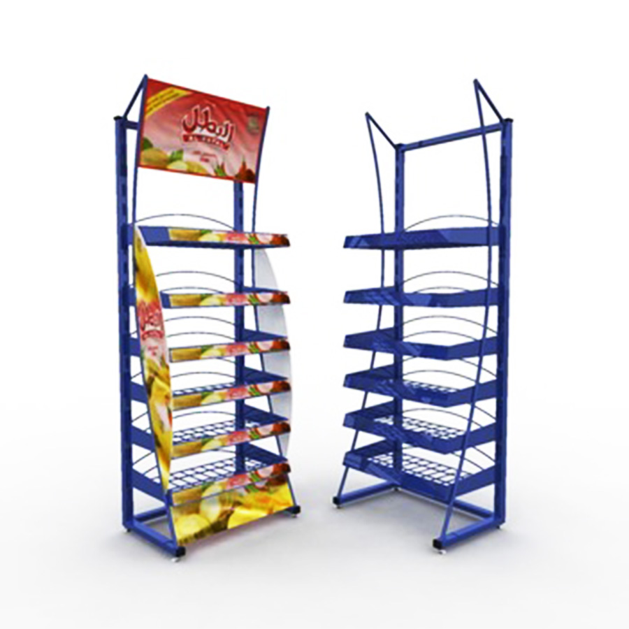 Customize Supermarket Promotional Floor Standing Advertising 5 Lays wire Food display Rack Basket Display Stand For Retail